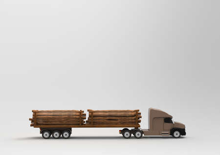 logging: American Truck with woods. 3D rendering.