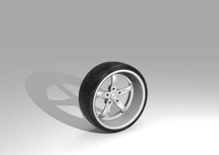 rim: Car rim with tire. 3D rendering.