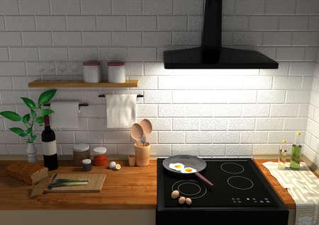 work space: Kitchen. Work space in kitchen. 3D rendering.
