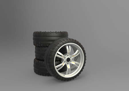 unused: Set of racing tires with rims. 3D rendering. Stock Photo