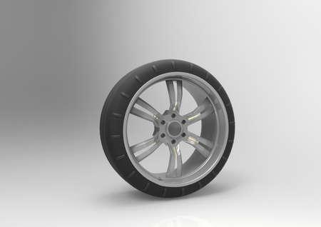 tread: Sport tire with rim. 3D rendering.