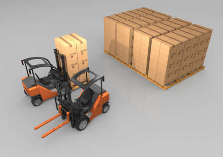 Forklift truck with boxes on pallet. 3D rendering.