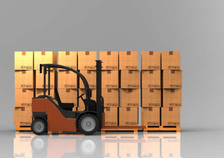 fork lifts trucks: Forklift truck with pallet. 3D rendering. Stock Photo