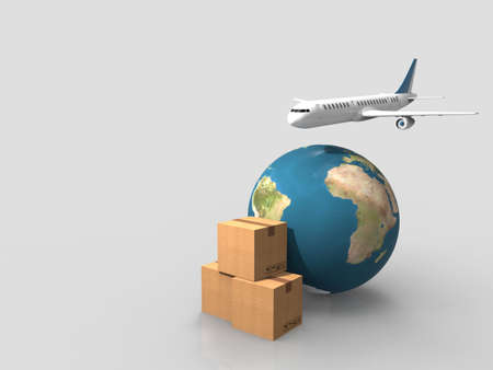 Earth, cardboard boxes and a flying plane.3D rendering