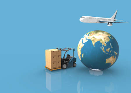 Earth, cardboard boxes, forklift truck and a flying plane.3D rendering Foto de archivo