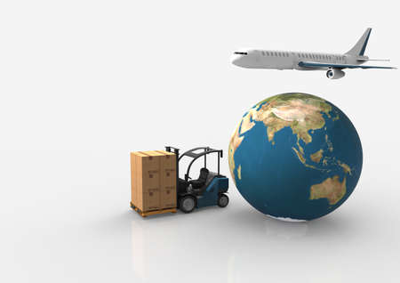 Earth, cardboard boxes, forklift truck and a flying plane.3D rendering Stock Photo
