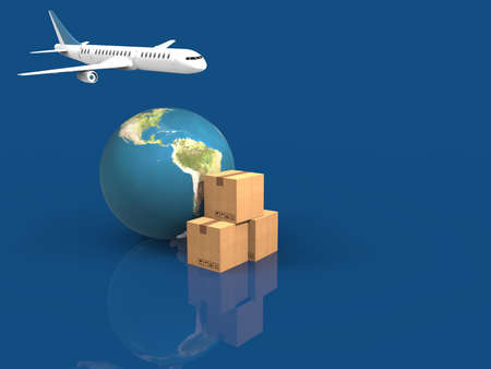 Earth, cardboard box and a flying plane.3D rendering