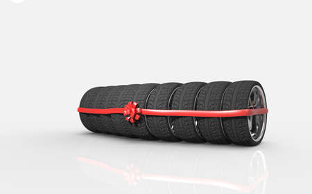 Tyres are stacked and packaged as a gift, on background. 3D rendering