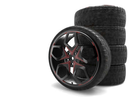 low tire: Set of sports racing rims with tires. 3D rendering. Stock Photo