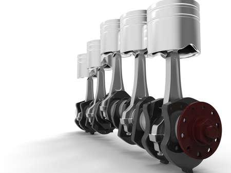 crankshaft: Pistons and crankshaft, automotive engine. 3D rendering.