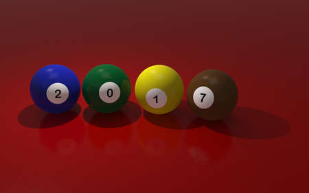 cue ball: Pool balls on red with 2017,New Year concept 3d rendering Stock Photo
