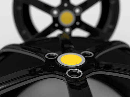 pneumatic tyres: Close-up of car sport racing rims. Rims on white background. 3D rendering.