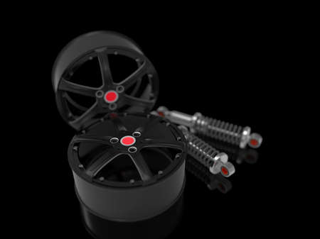 Black car rims with shock absorber on background. 3D rendering. Stock Photo
