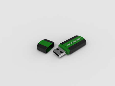Usb flash drive on white background. Usb for PC. Memory disk. 3D rendering.