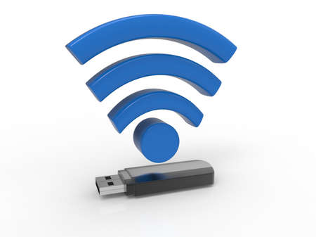 Usb flash drive with Wi-Fi logo on white background. Usb for PC. Memory disk. 3D rendering. Stock Photo