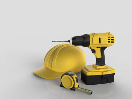Draft project, helmet and measuring tape on white isolated background, 3D rendering