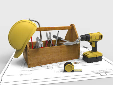 Tool box with tools for work. Tools in box. Drill, drill bit, meter and work helmet.3D rendering. Stock Photo