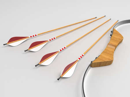 Bow and arrow on background. 3D rendering. Stock Photo