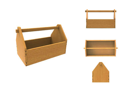 wooden work: Tool box with different views. Side, top, back and perspective view. Wooden box for tool for work. Close-up of tool box. 3D rendering.