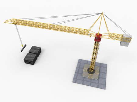 hydraulic platform: Construction crane on white background. 3D rendering.