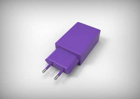 adapter: Usb adapter. Usb plug. Power adaper. 3D rendering.