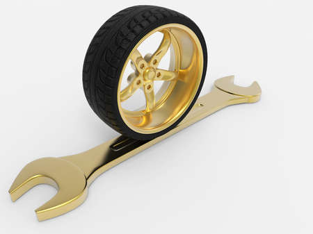 vulcanize: Sport tires with rims. Sport tires with rims and wrench. Golden rim and wrench. Isolated on white back ground. 3D rendering. Stock Photo