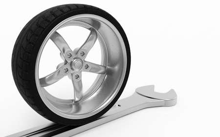 vulcanize: Sport tires with rims. Sport tires with rims and wrench. Isolated on white back ground. 3D rendering.