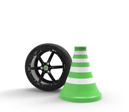 Car rim with tire. Wheel with road cone. On white background. 3D rendering.