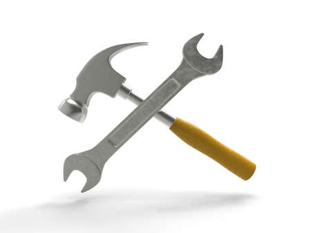 Hammer and wrench on white background. 3D rendering. Stock Photo