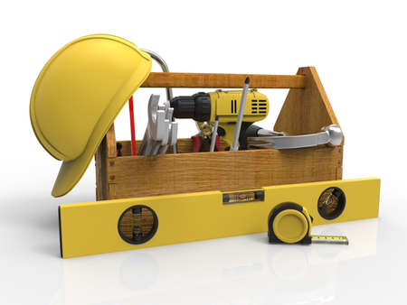 Werkzeugkasten mit Werkzeugen. Sackwinder, Hammer, Handsäge und Schraubenschlüssel. Im Aufbau, Wartung, Reparatur, Reparatur, Premium-Service. 3D-Rendering