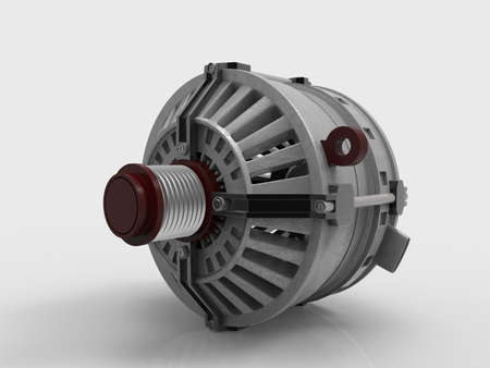 alternateur: Car alternator isolated on a white background. 3D rendering.