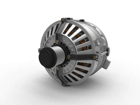 Car alternator isolated on a background. Car part. 3D rendering.
