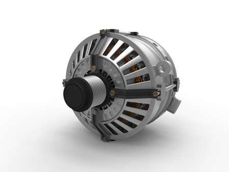 alternateur: Car alternator isolated on a background. Car part. 3D rendering.