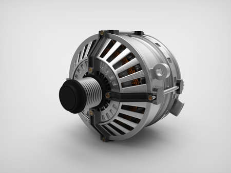 spare part: Car alternator isolated on a background. Car part. 3D rendering.
