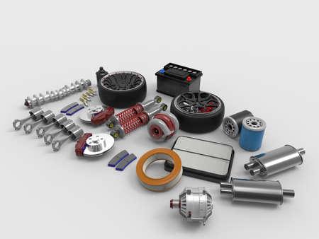 alternateur: Car parts on white background. Tires, sparks, brakes, battery, turbine, alternator, oil filter.3D rendering.