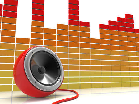 Speakers. Speaker with cable on white background. Equalizer on white background. 3D rendering. Stock Photo