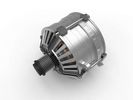 Car alternator isolated on a background. 3D rendering.