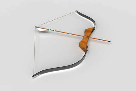 Bow and arrow on white background. Recreation. 3D rendering. Stock Photo