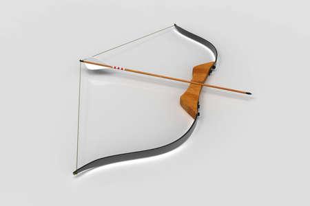 Pfeil und Bogen auf weißem Hintergrund. Erholung. 3D-Rendering.