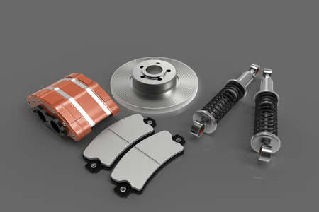 Disk brake. Brake system in parts. Car parts. 3D rendering.