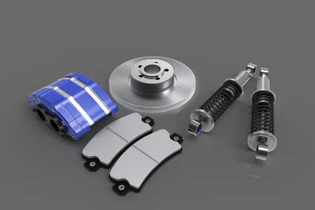 Disk brake. Brake system in parts. Car parts. 3D rendering. Stock Photo