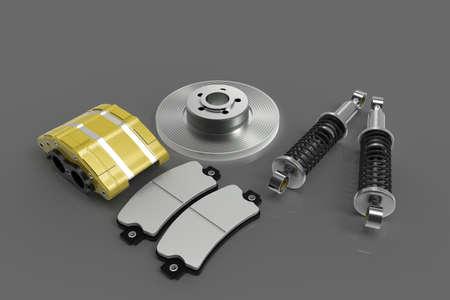 Disk brake. Brake system in parts. Car parts. 3D rendering.