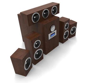 subwoofer: Speakers. Speakers with subwoofer. Surround system. Equalizer subwoofer. 3D rendering.