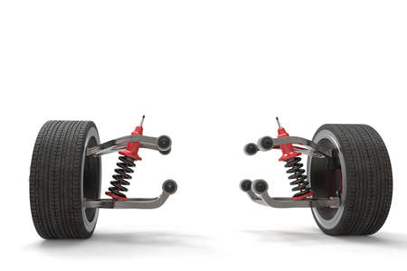 Braking and suspension system. Tuning auto parts. Background. 3D rendering. Imagens