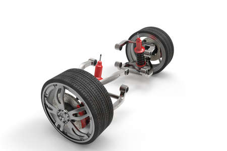 Braking and suspension system. Tuning auto parts. Background. 3D rendering. Stock Photo