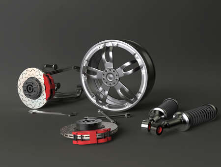 Car parts. Disk brake, rim, wrench and suspension. 3D rendering. Stock Photo