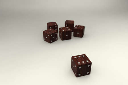 six objects: Dice on background. Dice for game.Wooden.3D rendering.
