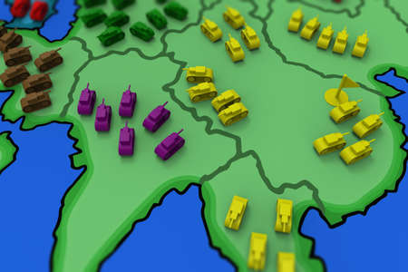 risiko: Tanks toy on table. Board game.3D rendering. Stock Photo