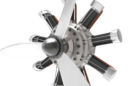 Airplane engine. Engine for airplane. Vintage engine. White background. 3D rendering.