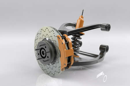Braking and suspension system. Tuning auto parts. White background. 3D rendering. Stock Photo